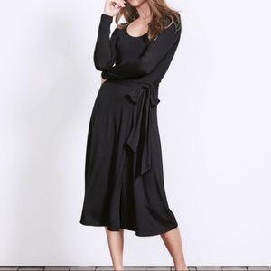 Boden Sylvia Long Sleeve Black Faux Wrap Dress